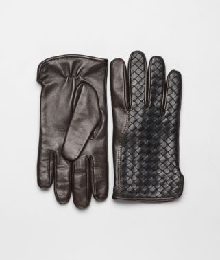 Handschuhe aus weichem Nappaleder Intrecciato Nero und Ebano