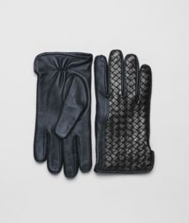 BOTTEGA VENETA - Accessories, Prusse Nero Intrecciato Soft Nappa Gloves
