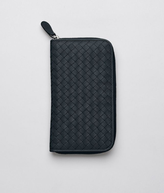 ZIP AROUND WALLET IN PRUSSE INTRECCIATO LAMBSKIN