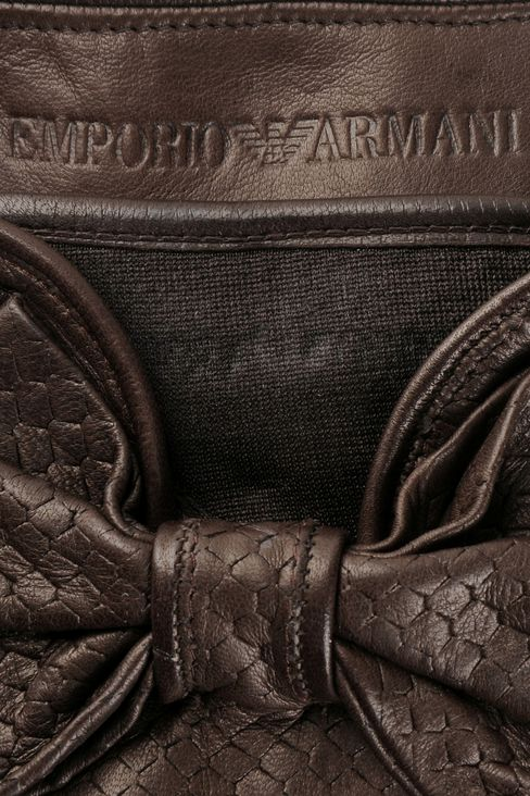 NAPPA LEATHER GLOVES WITH BOW: Gloves Women by Armani - 3