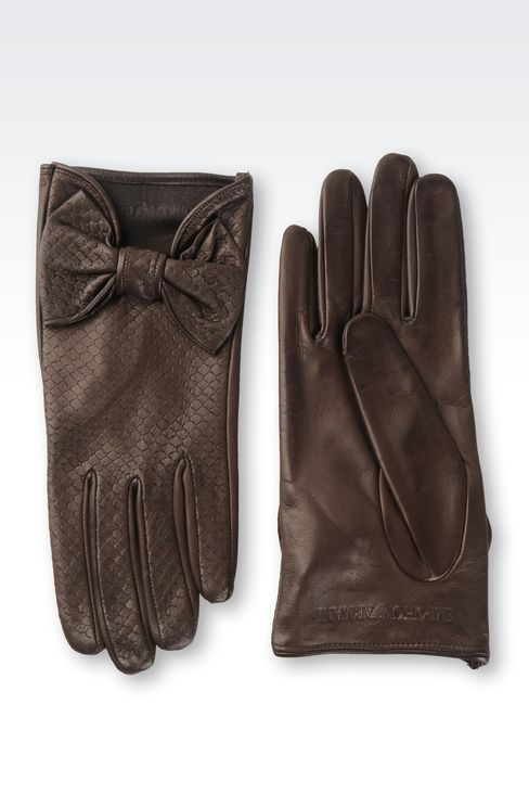 NAPPA LEATHER GLOVES WITH BOW: Gloves Women by Armani - 2