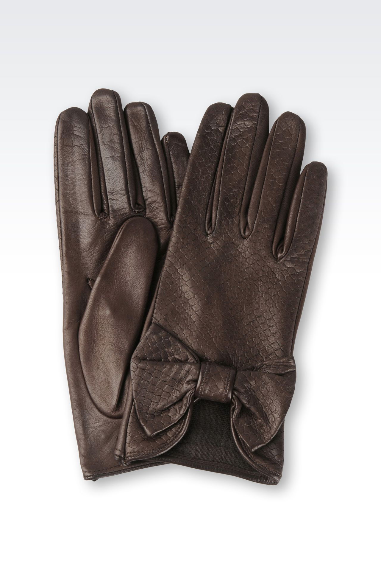 NAPPA LEATHER GLOVES WITH BOW: Gloves Women by Armani - 0