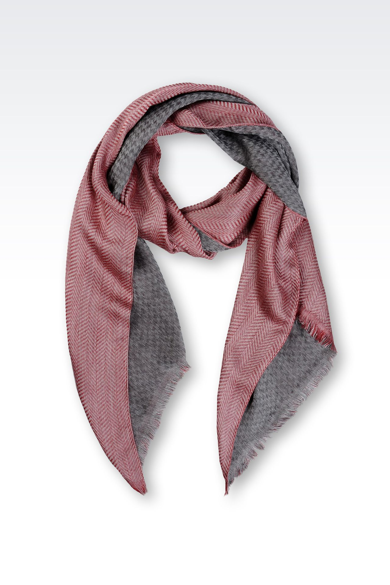 TWO-COLOUR STOLE IN VISCOSE AND SILK: Stoles Women by Armani - 0