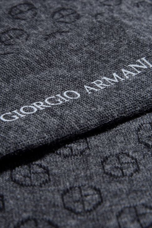 COTTON ANKLE SOCKS WITH ALL OVER LOGO: Socks Men by Armani - 2