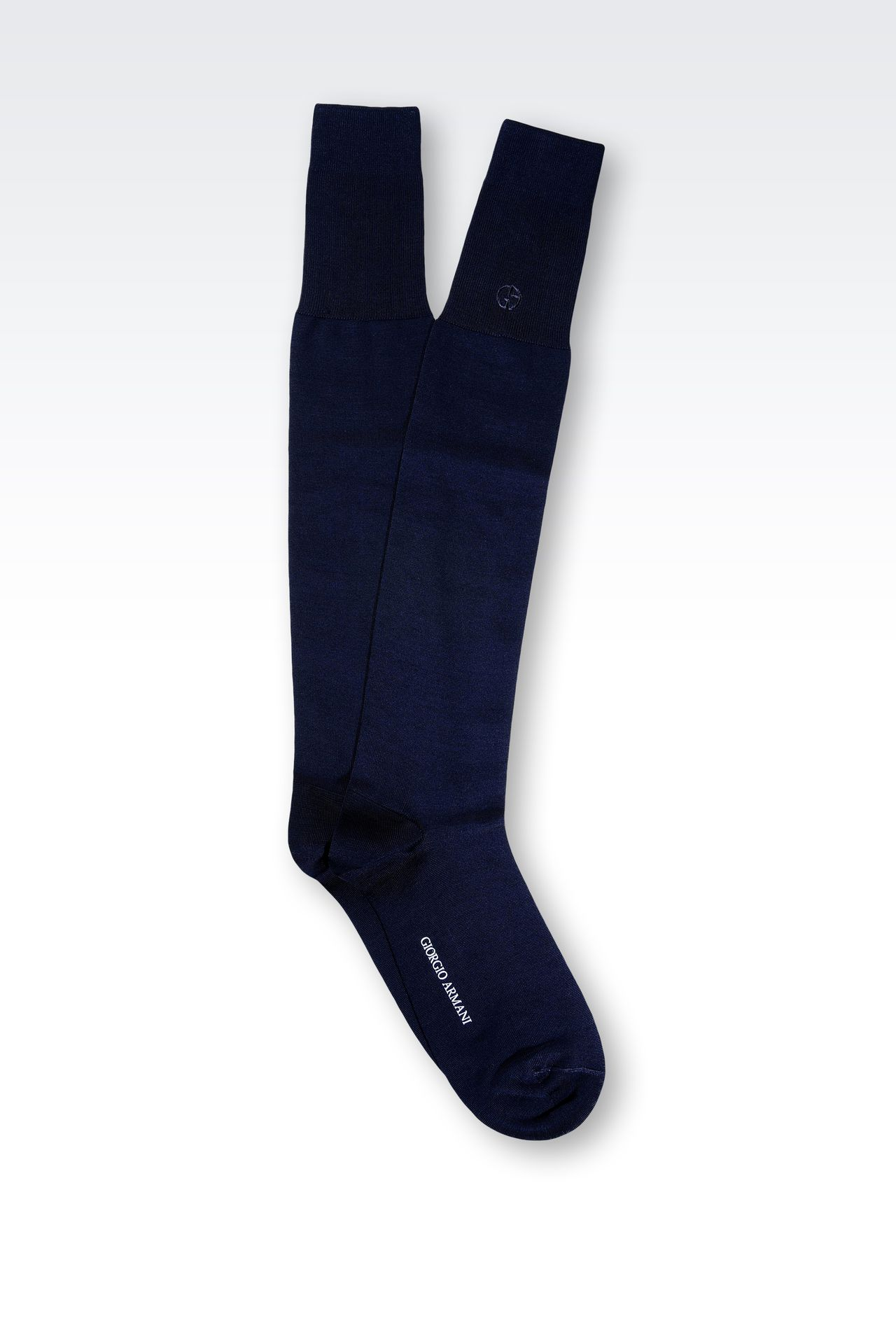 KNEE SOCKS IN COTTON WITH EMBROIDERED LOGO: Socks Men by Armani - 0