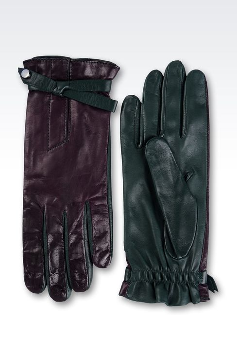 TWO-COLOR GLOVES IN NAPPA LEATHER WITH BOW: Gloves Women by Armani - 2