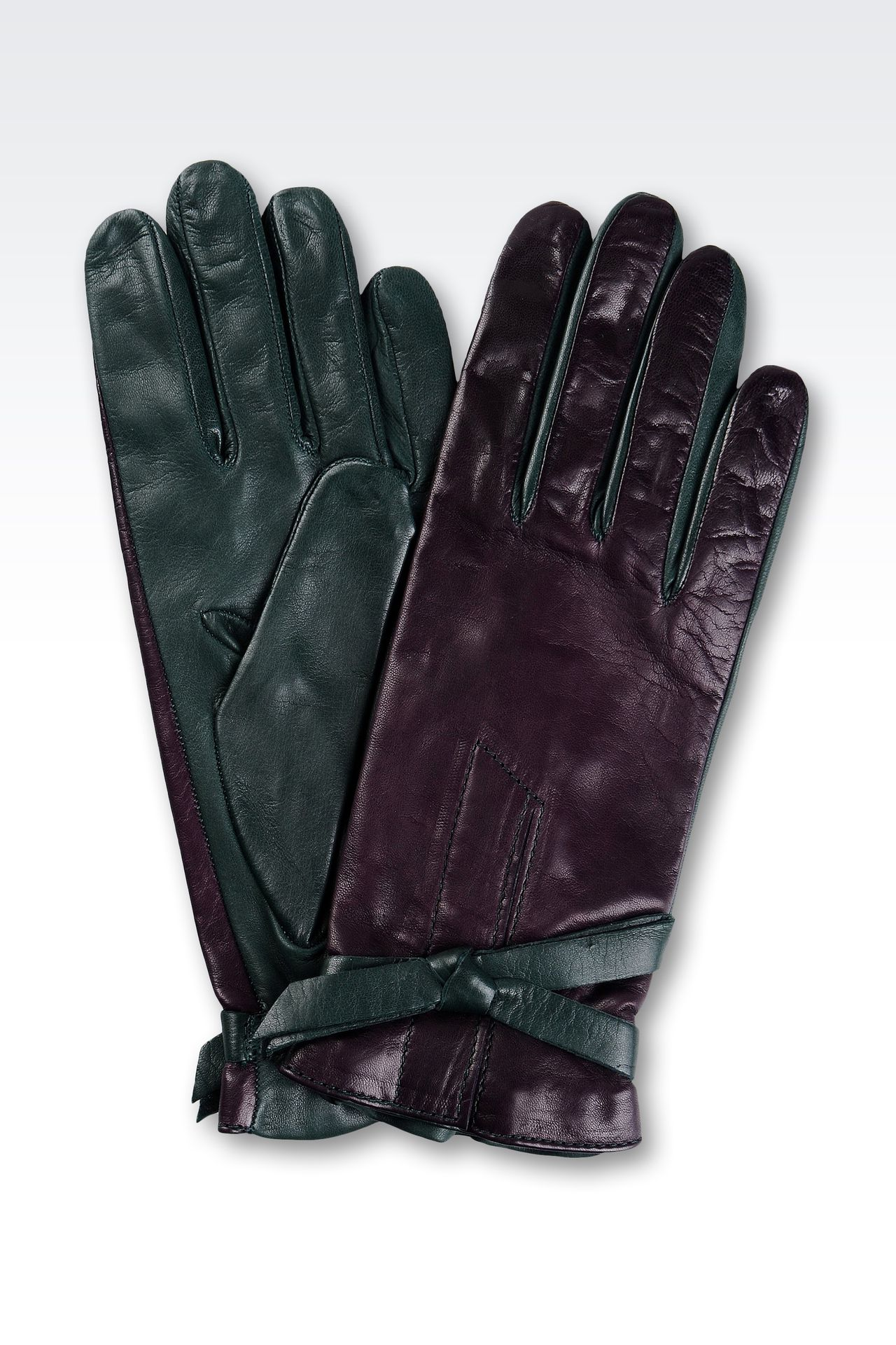 TWO-COLOR GLOVES IN NAPPA LEATHER WITH BOW: Gloves Women by Armani - 0