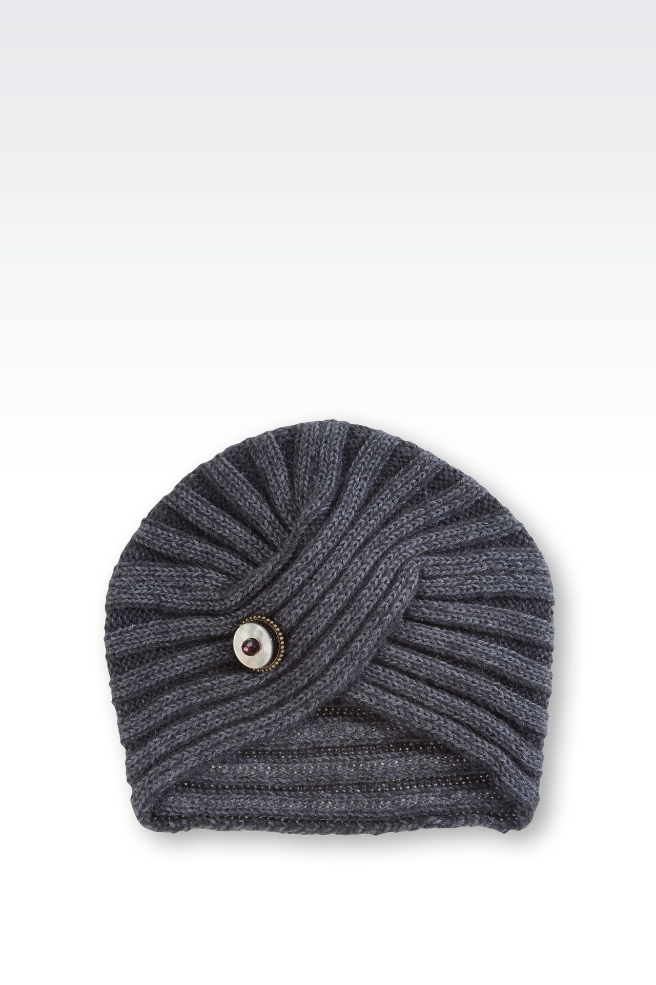 TURBAN-STYLE HAT IN WOOL: Hats Women by Armani - 0