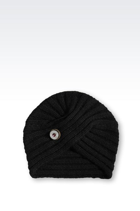 TURBAN-STYLE HAT IN WOOL: Hats Women by Armani - 1