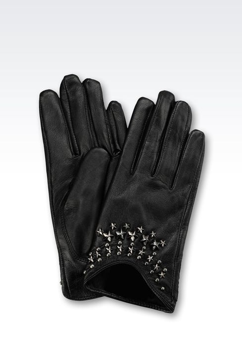 LEATHER GLOVES WITH STUDS: Gloves Women by Armani - 1