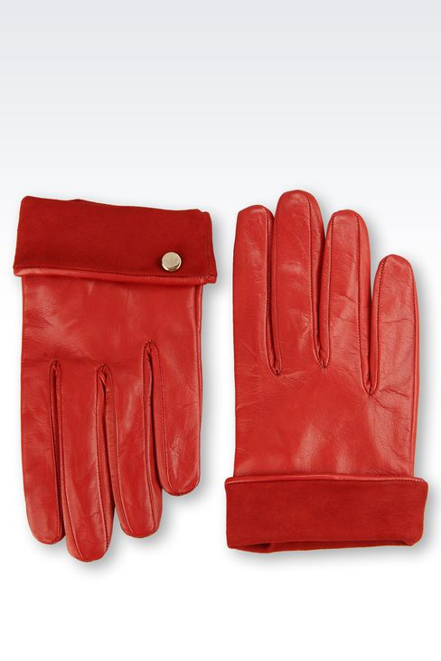 LEATHER GLOVES WITH SUEDE TURN-UP: Gloves Women by Armani - 2