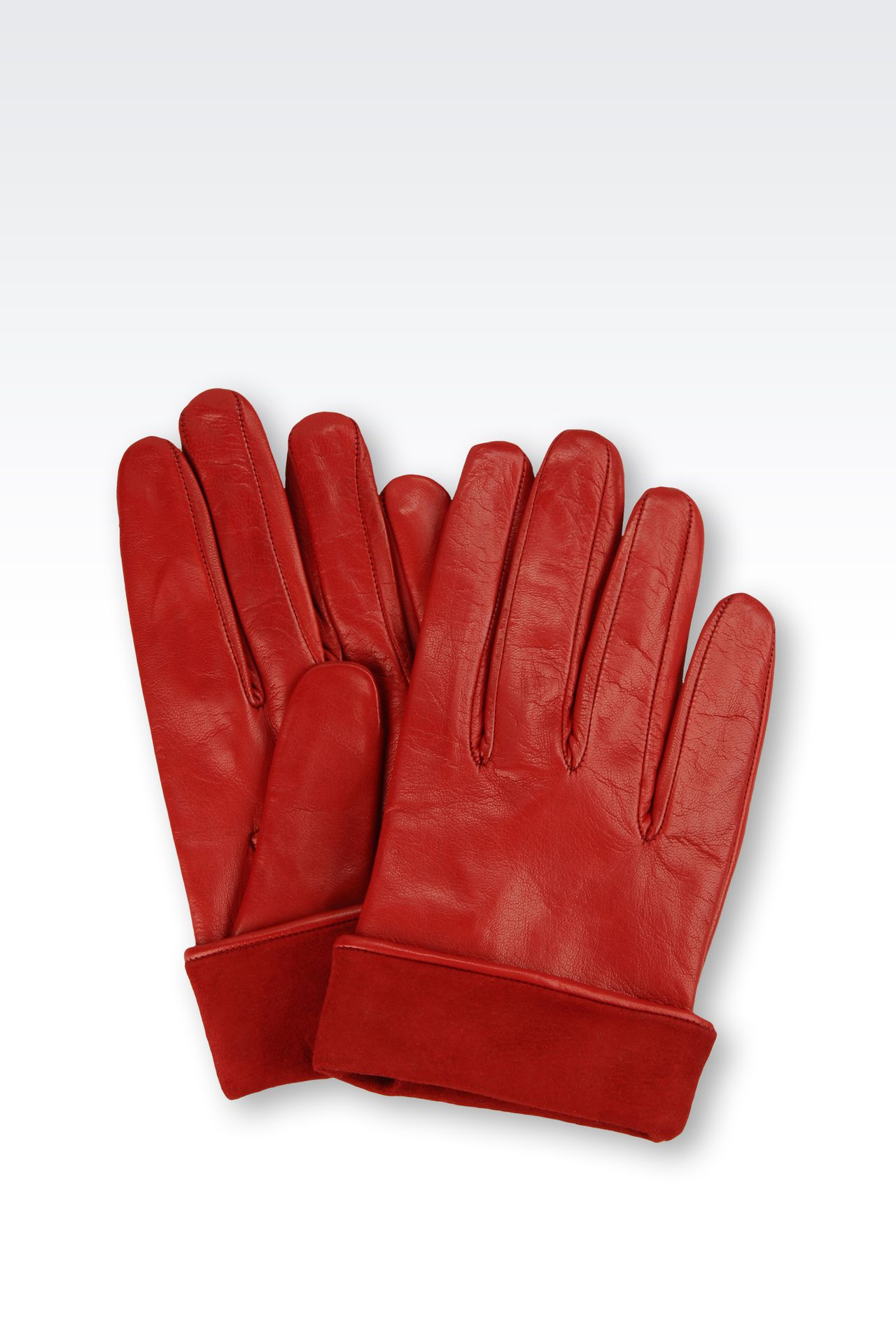 LEATHER GLOVES WITH SUEDE TURN-UP: Gloves Women by Armani - 0