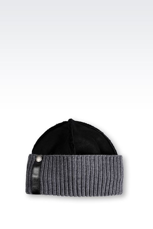 LEATHER HAT WITH RIBBED TURN-UP: Hats Men by Armani - 1