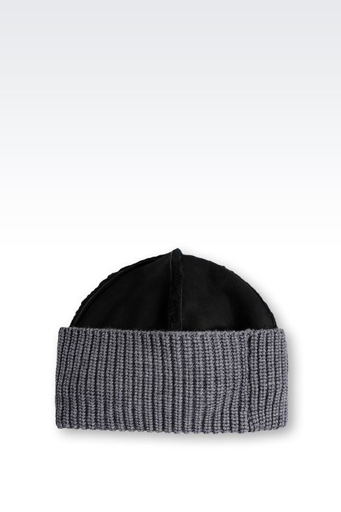 LEATHER HAT WITH RIBBED TURN-UP: Hats Men by Armani - 2