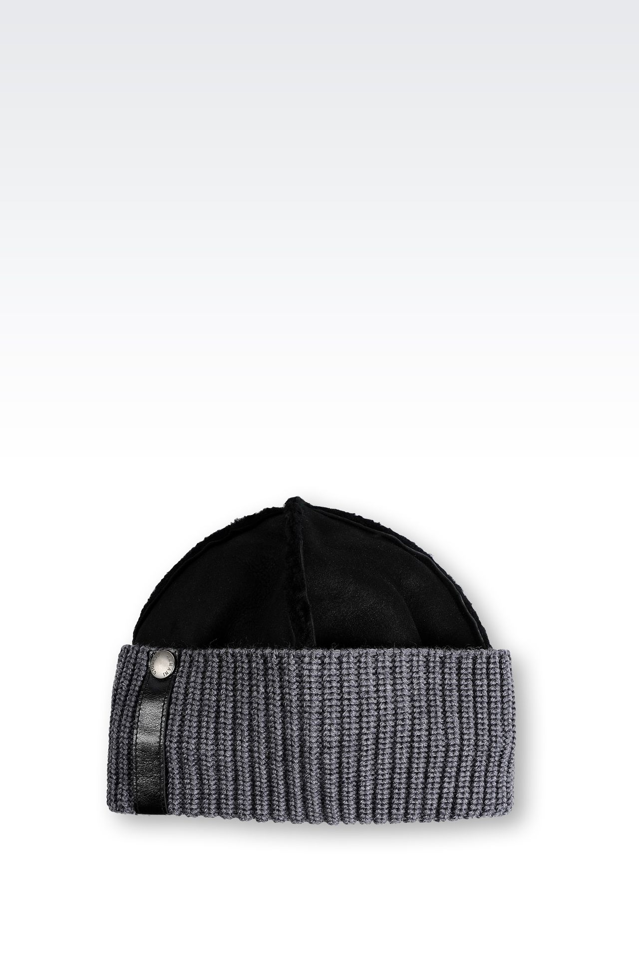 LEATHER HAT WITH RIBBED TURN-UP: Hats Men by Armani - 0