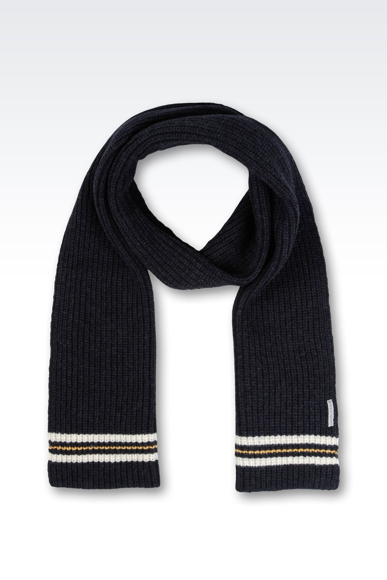 RIBBED SCARF WITH CONTRASTING BORDERS: Scarves Men by Armani - 0