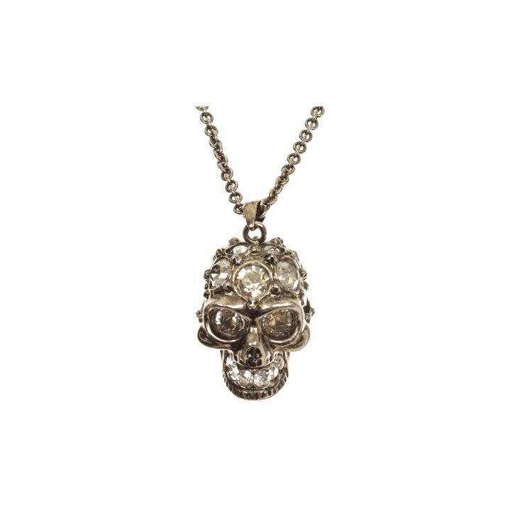 Alexander McQueen, Brass 'glory' skull pendant with clear crystal detail.