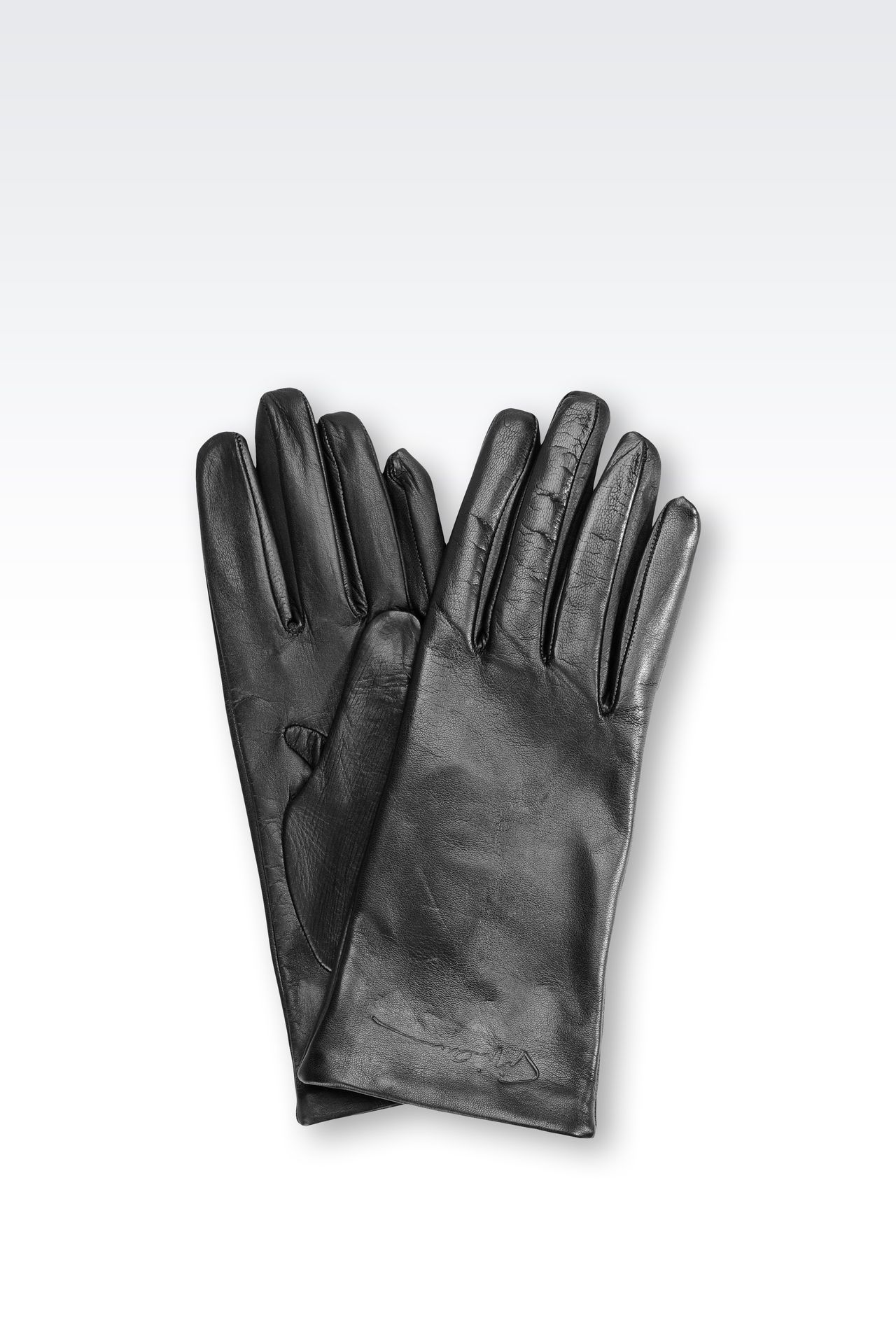 Armani exchange black leather gloves - Leather Gloves With Logo Gloves Women By Armani 0