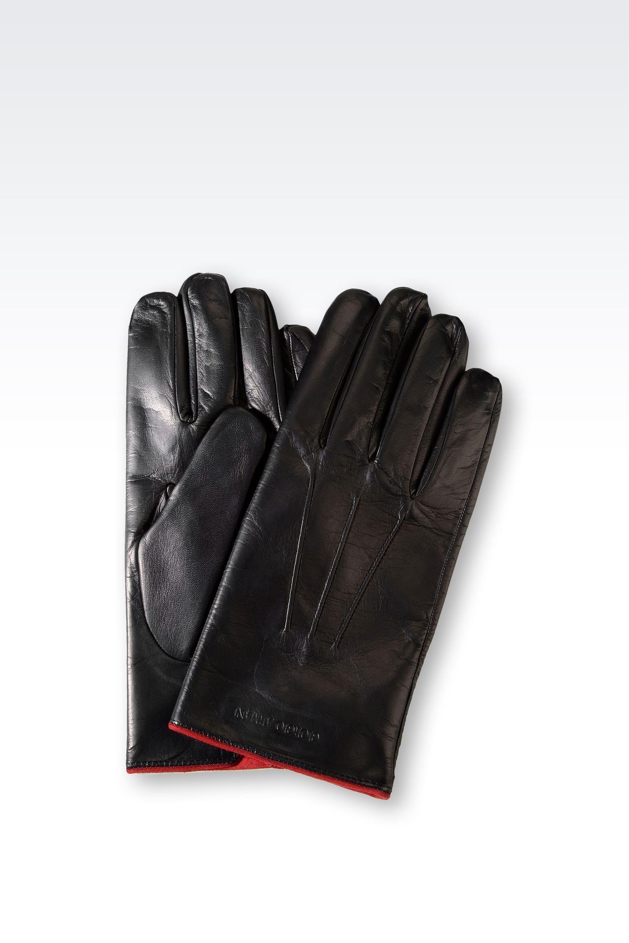 Armani exchange black leather gloves - Nappa Leather Gloves With Contrasting Interior Gloves Men By Armani 0