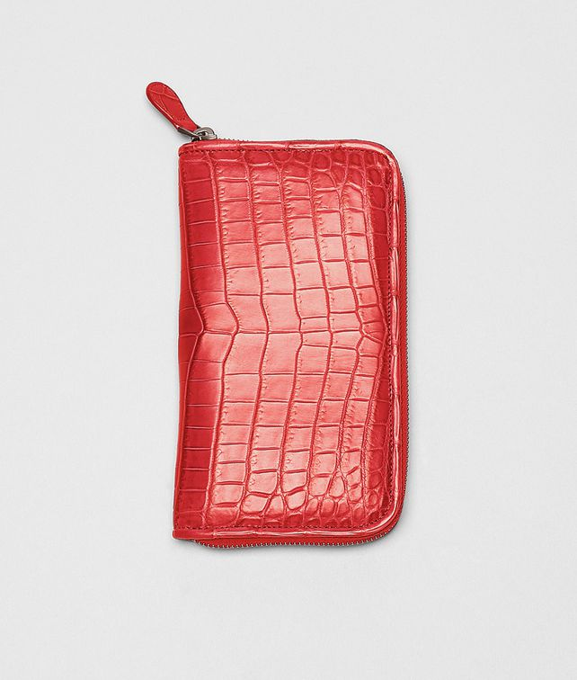 New Red Soft Crocodile Fume Zip Around Wallet