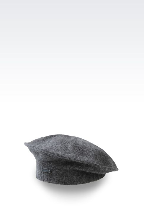 CASHMERE BERET WITH LOGO: Hats Women by Armani - 1