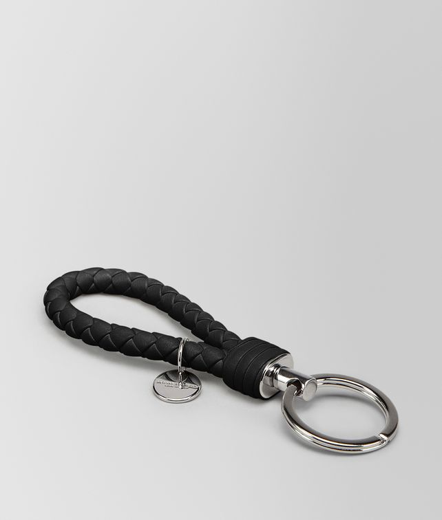 BOTTEGA VENETA KEY RING IN NERO INTRECCIATO NAPPA Keyring or Bracelets E fp