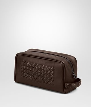 Edoardo Ebano Light Calf Soft Crocodile Fume Toiletry Case