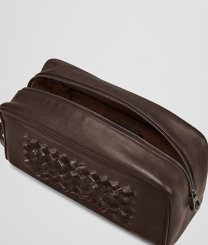 BOTTEGA VENETA - Edoardo Ebano Light Calf Soft Crocodile Fume Toiletry Case