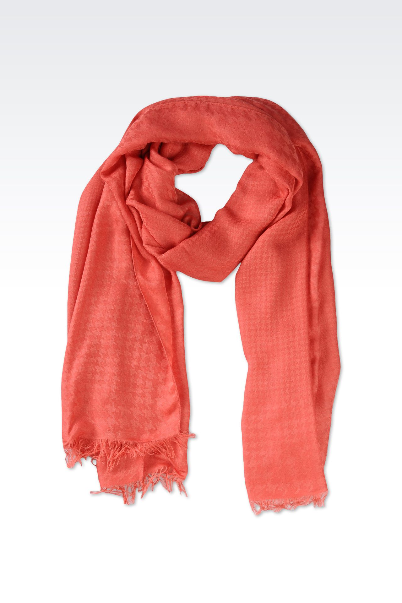 FRINGE SCARF IN VISCOSE AND MODAL: Scarves Women by Armani - 0