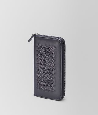 ZIP AROUND WALLET IN TOURMALINE CALF AND CROCODILE, INTRECCIATO DETAILS