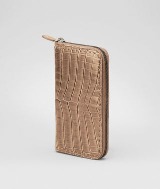Bronze Shiny Crocodile Zip Around Wallet