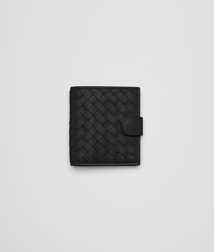 Portefeuille Mini French Flap Nero en nappa Intrecciato