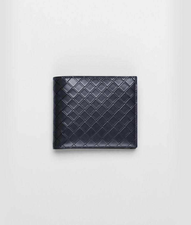 Portemonnaie aus gebürstetem Intreccio Scolpito Prusse und Nero