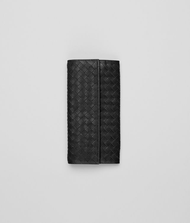Nero Intrecciato Washed Lambskin Continental Wallet