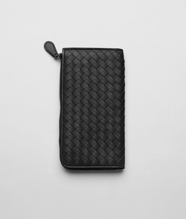 ZIP AROUND WALLET IN NERO INTRECCIATO NAPPA