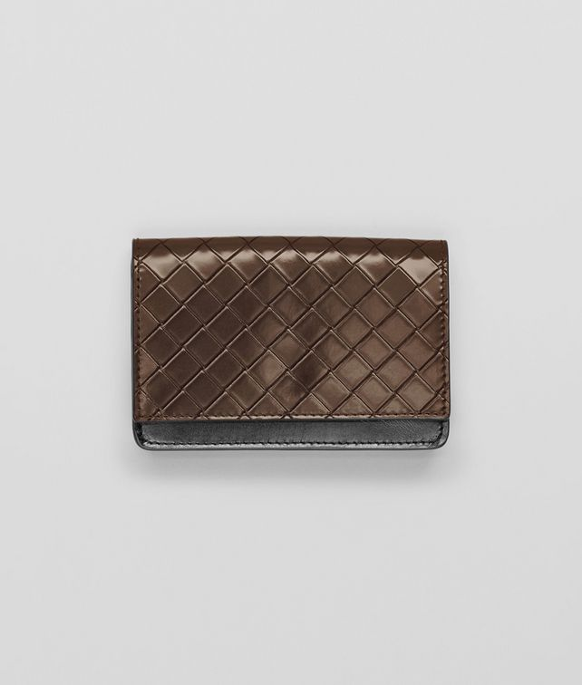 BOTTEGA VENETA Edoardo Nero Intreccio Scolpito Spazzolato Card Case Card Case or Coin Purse U fp