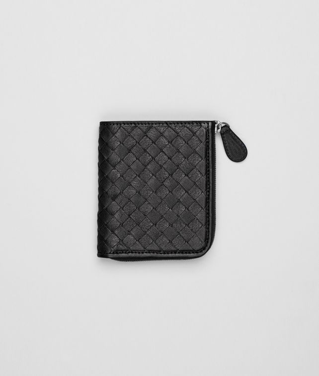 BOTTEGA VENETA Nero Intrecciato Washed Lambskin Zip Around Mini Wallet Mini Wallet or Coin Purse D fp