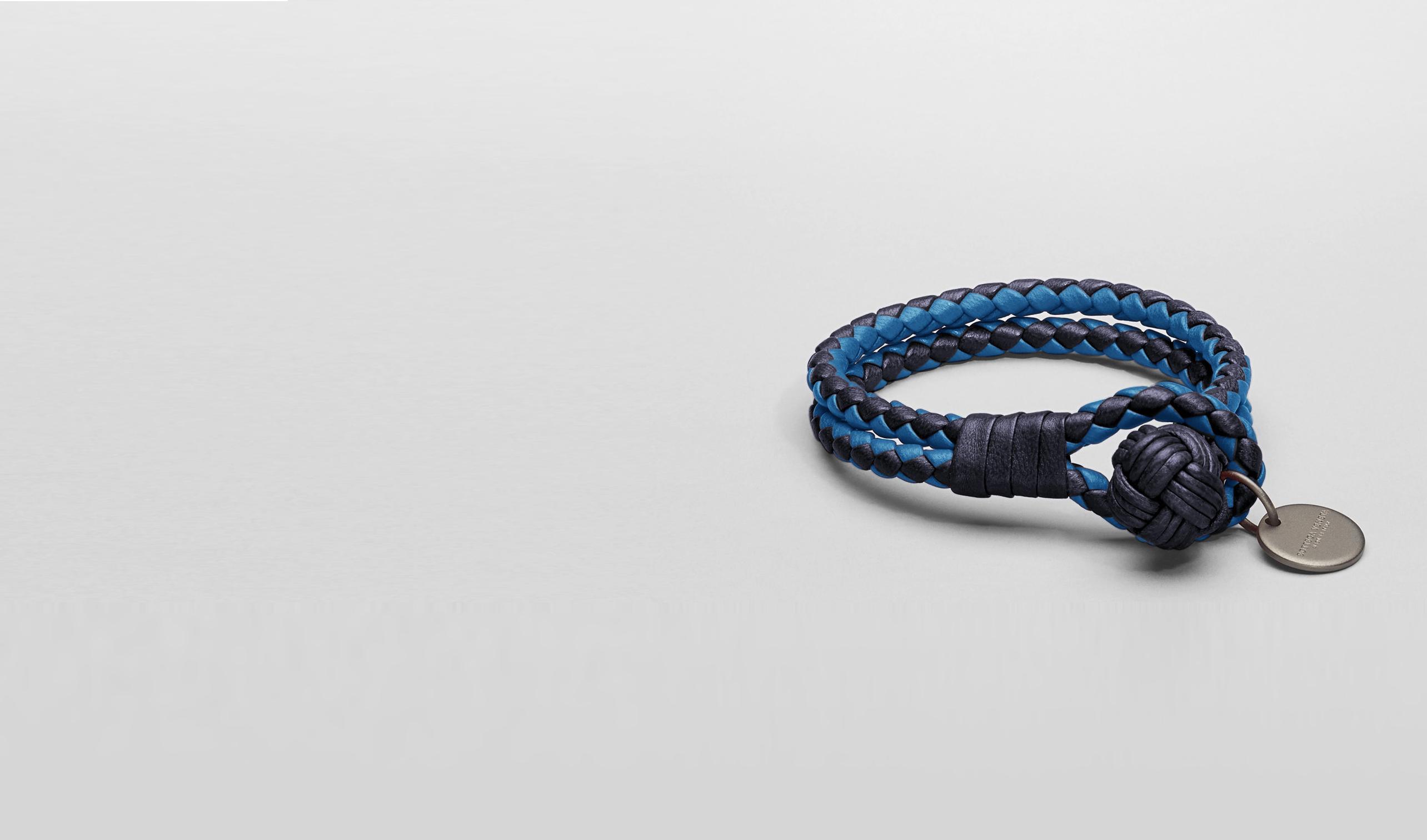 电音蓝编织小羊皮手链