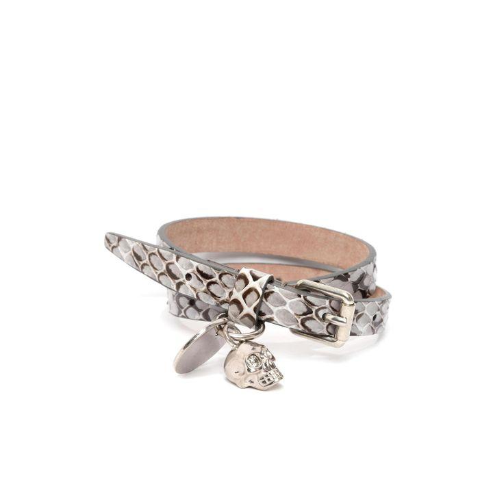 Alexander McQueen, Snakeskin Double Wrap Skull Bracelet