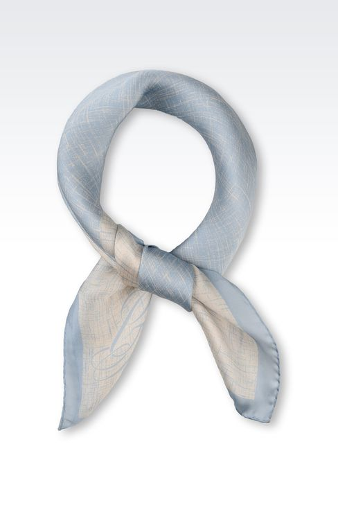 TWO-COLOUR SATIN SCARF WITH LOGO: Foulards Women by Armani - 1