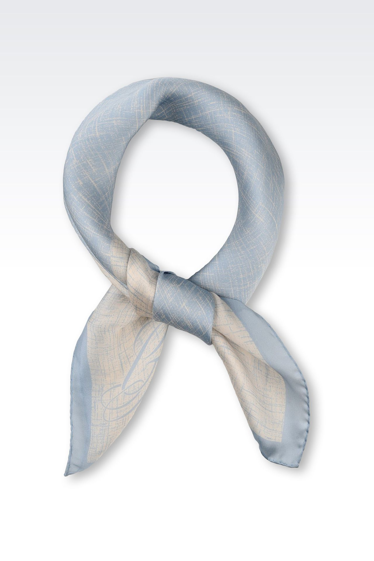 TWO-COLOUR SATIN SCARF WITH LOGO: Foulards Women by Armani - 0