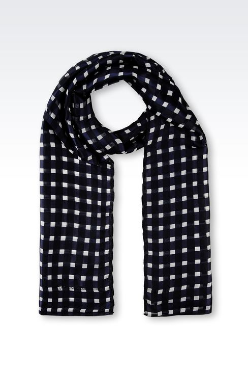 CHECKED SILK SCARF: Scarves Women by Armani - 1