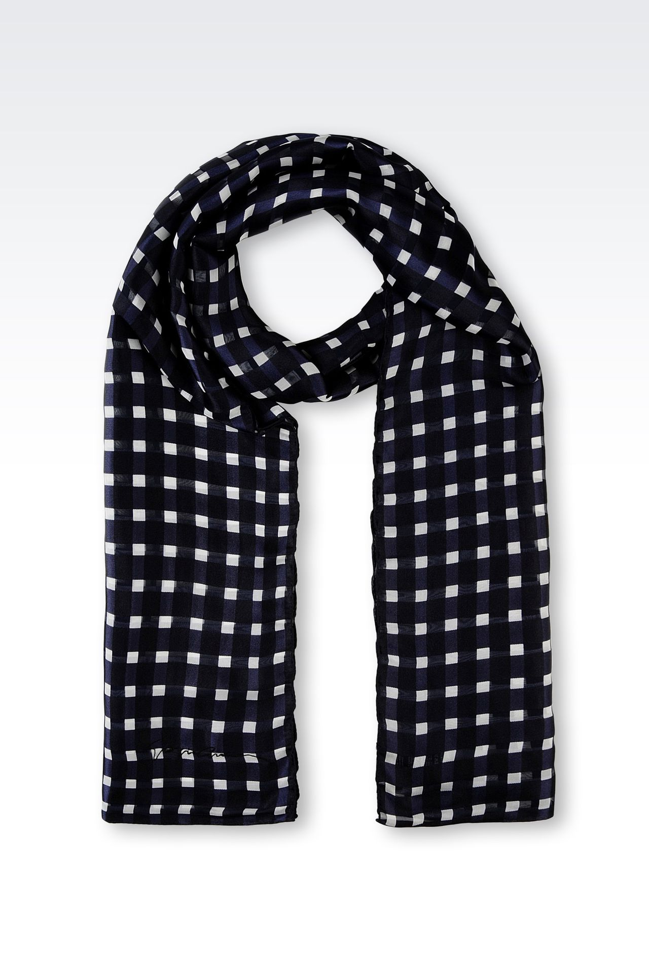 CHECKED SILK SCARF: Scarves Women by Armani - 0