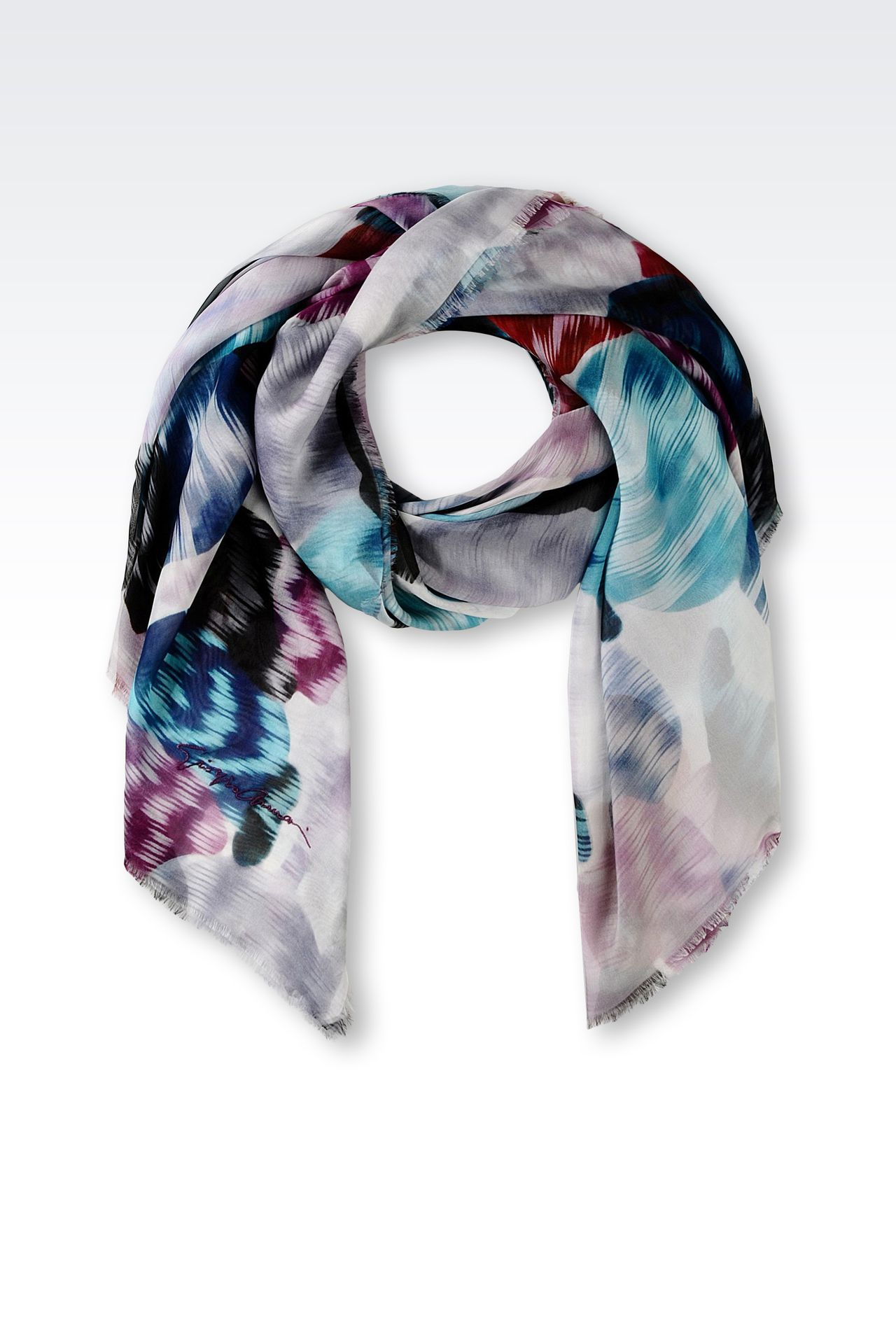 SILK SCARF WITH EMBROIDERED SIGNATURE: Foulards Women by Armani - 0