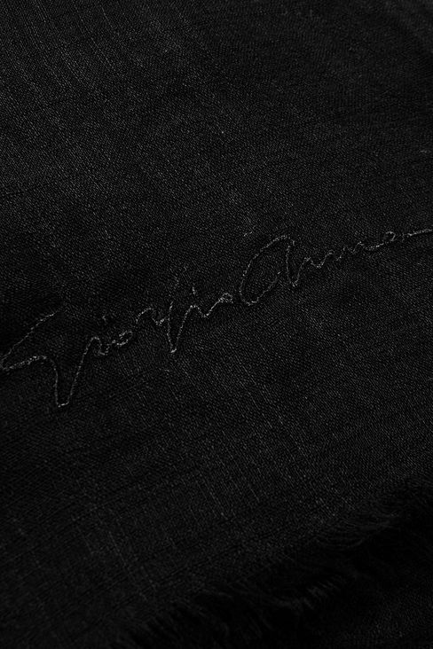 CASHMERE SCARF WITH SIGNATURE LOGO: Stoles Women by Armani - 3