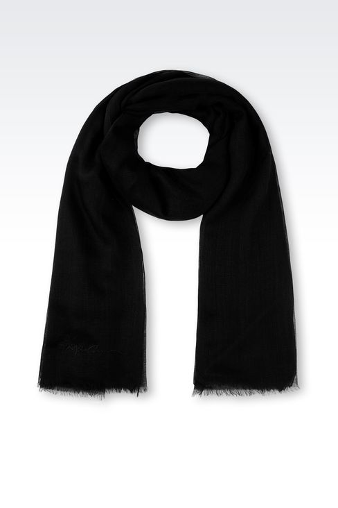 CASHMERE SCARF WITH SIGNATURE LOGO: Stoles Women by Armani - 1