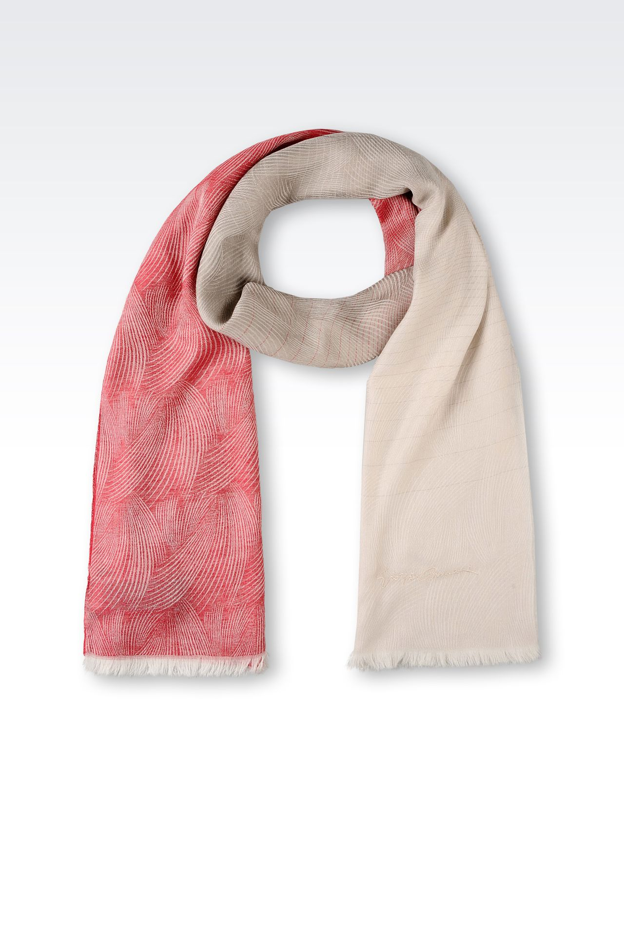 TWO-COLOUR PATTERN SCARF: Stoles Women by Armani - 0
