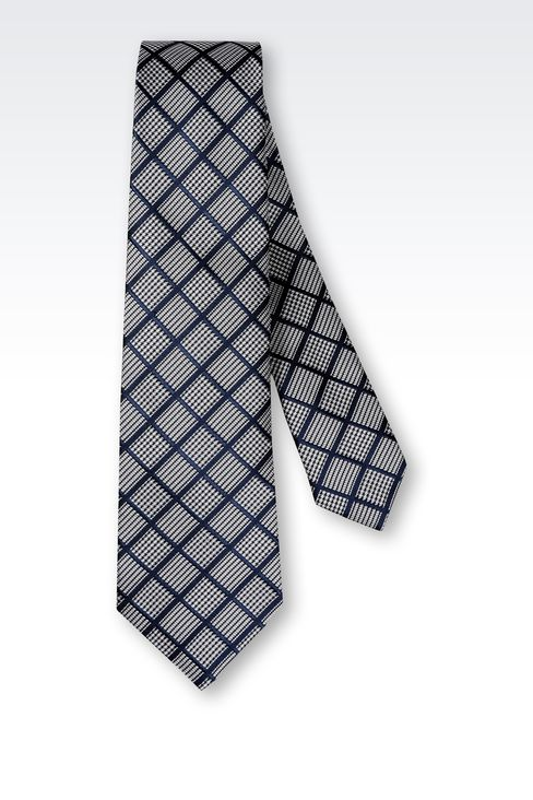SILK TIE WITH MICRO-LOZENGE DESIGN: Ties Men by Armani - 2