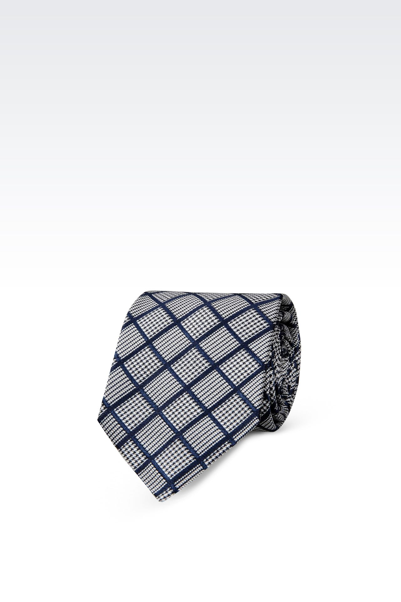 SILK TIE WITH MICRO-LOZENGE DESIGN: Ties Men by Armani - 0