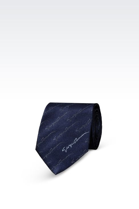 SILK TIE WITH LOGO PATTERN: Ties Men by Armani - 1